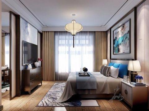 卧室黄色窗帘中式风格装修图片