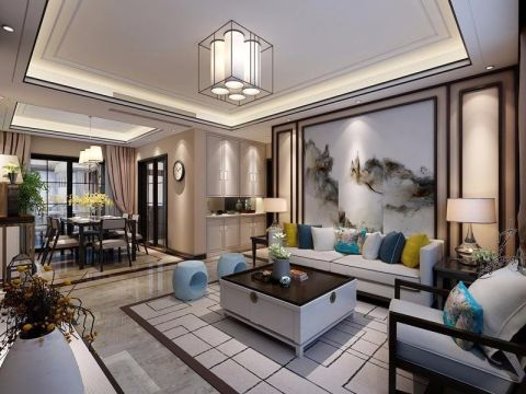 中式风格128平米三室两厅新房装修效果图