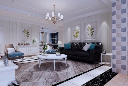 客厅沙发简欧风格装潢图片