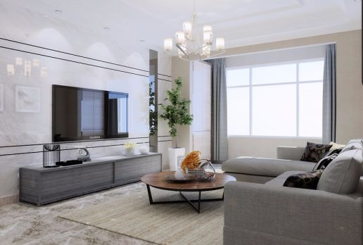 128平米现代简约三居室装修效果图