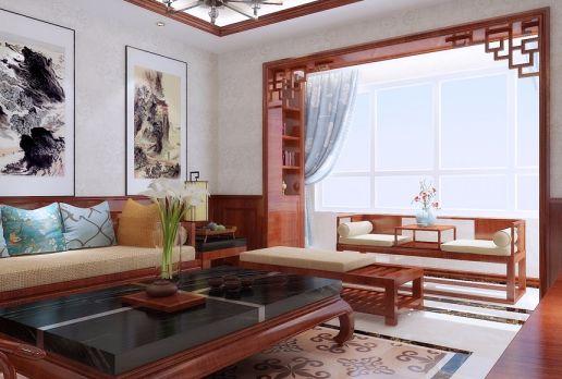 客厅茶几中式风格装潢效果图
