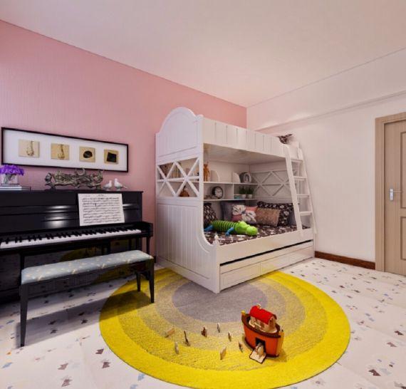 儿童房白色床现代简约风格装潢设计图片