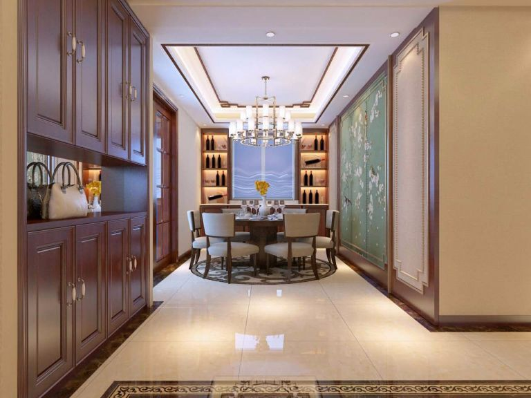 餐厅咖啡色餐桌新中式风格装饰图片