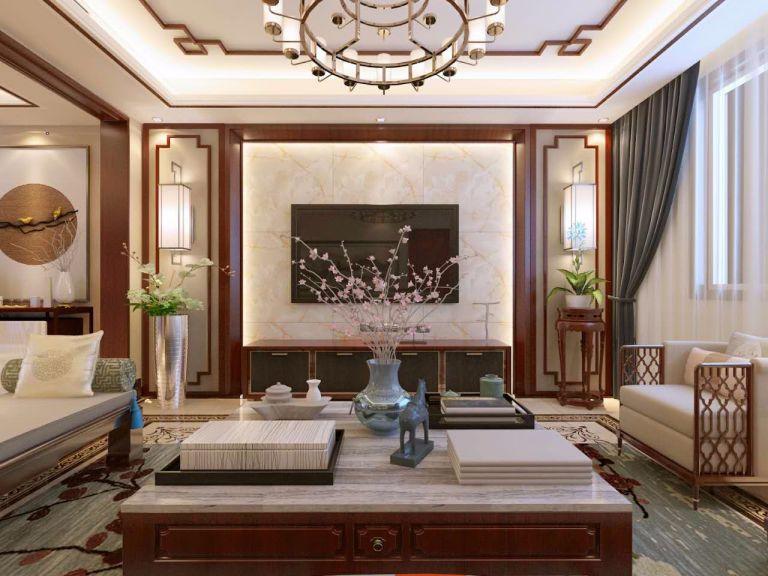 客厅灰色窗帘新中式风格装潢图片