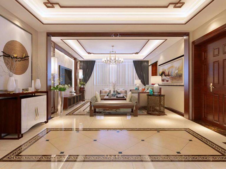 客厅白色吊顶新中式风格装修设计图片