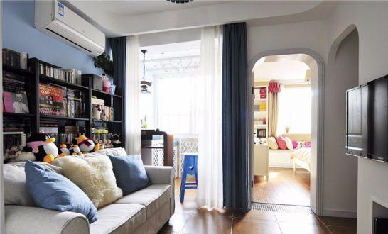 地中海风格67平米三室两厅新房装修效果图
