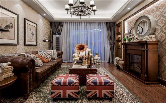 108平米美式风格二居室装修效果图