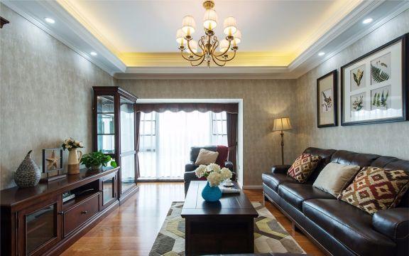 客厅咖啡色沙发美式风格装饰效果图