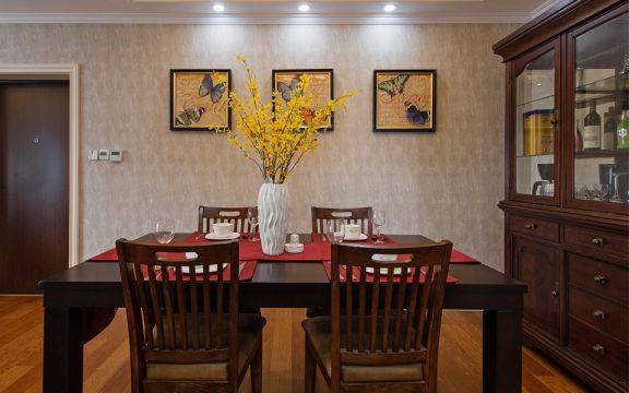 餐厅咖啡色餐桌美式风格装潢效果图