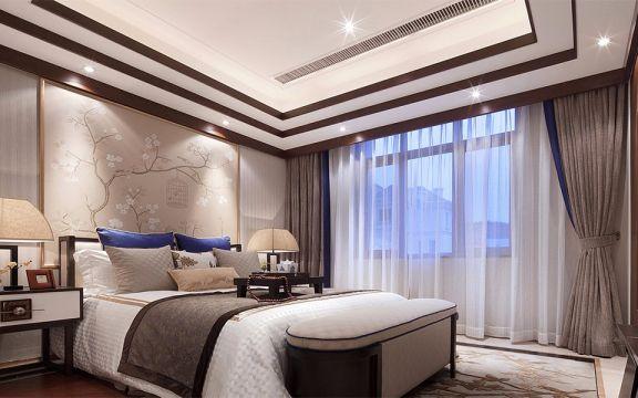 卧室咖啡色窗帘装潢图