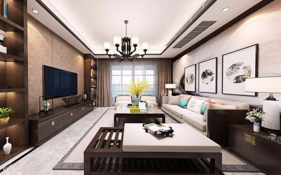 新中式风格110平米三室两厅新房装修效果图
