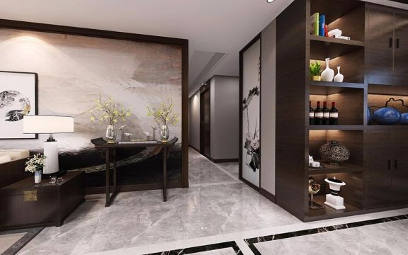 客厅地砖新中式风格装饰图片