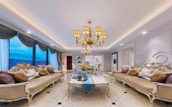 123平米三室两厅简欧风格装修效果图