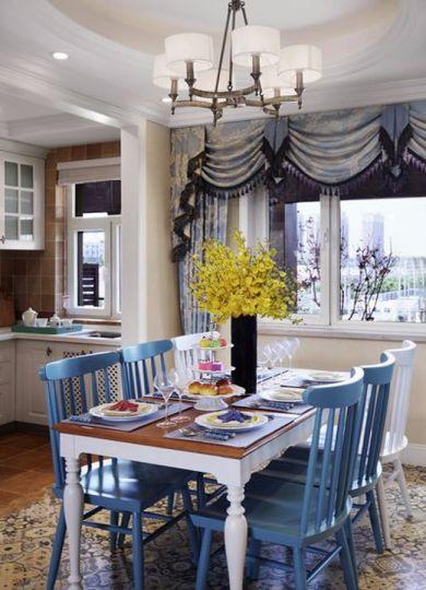 餐厅白色餐桌地中海风格效果图