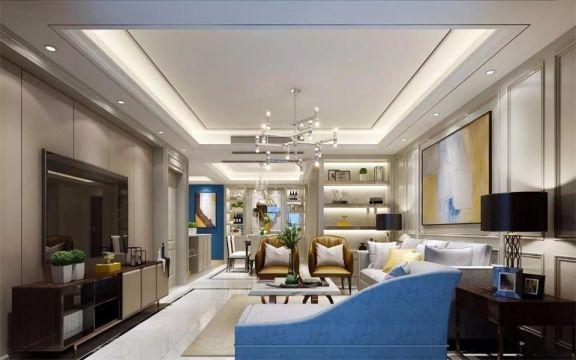 现代简约风格183平米三室两厅新房装修效果图