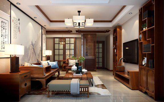 中式风格104平米三室两厅新房装修效果图