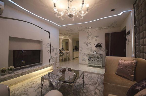 欧式风格98平米三室两厅新房装修效果图