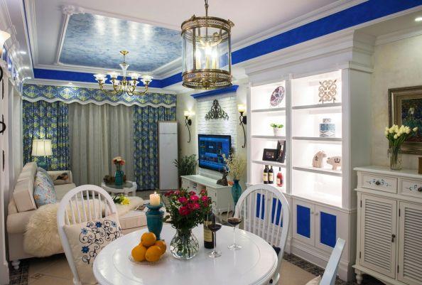 地中海风格93平米三室两厅新房装修效果图