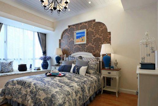 卧室白色床头柜地中海风格装饰效果图