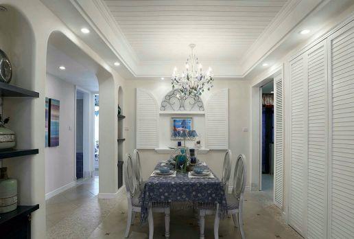 餐厅白色吊顶地中海风格装潢效果图