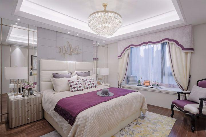 卧室白色飘窗田园风格装潢图片