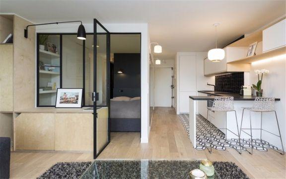厨房白色吧台现代简约风格装潢效果图