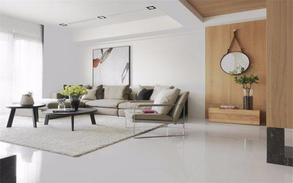 客厅黑色茶几北欧风格装修设计图片
