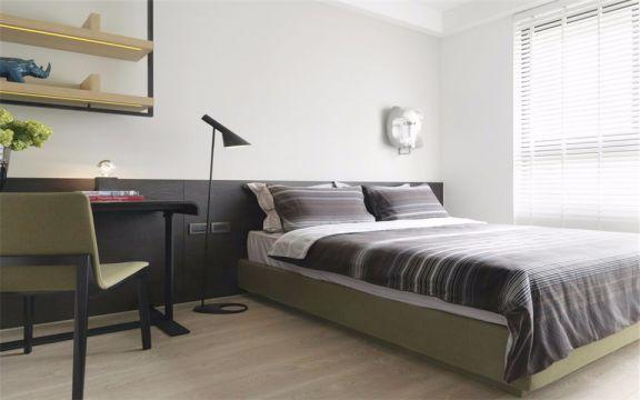 卧室绿色床北欧风格装饰设计图片
