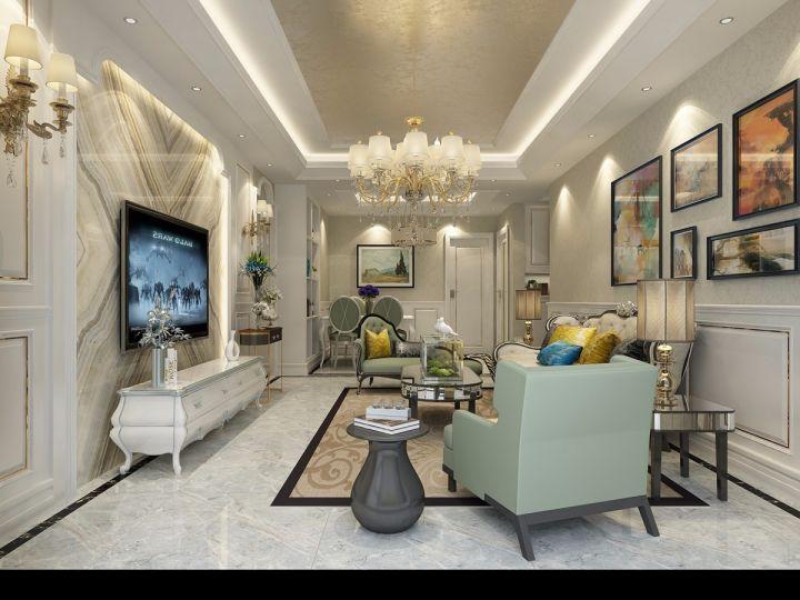 客厅黄色照片墙欧式风格装饰效果图