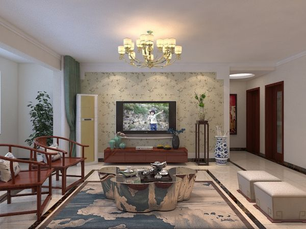 简中风格134平米三室两厅新房装修效果图