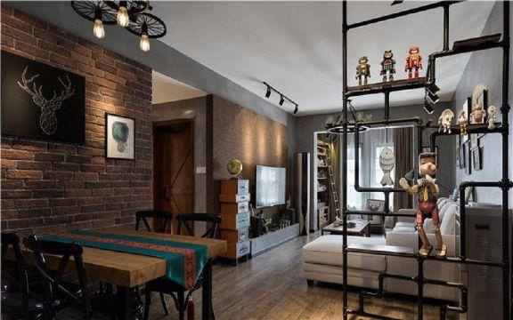 餐厅咖啡色博古架现代简约风格装潢设计图片