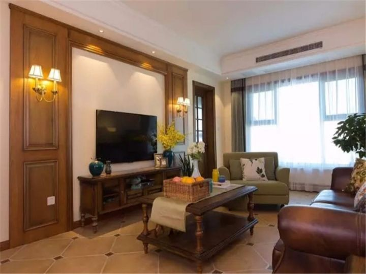 客厅咖啡色背景墙新古典风格装潢图片