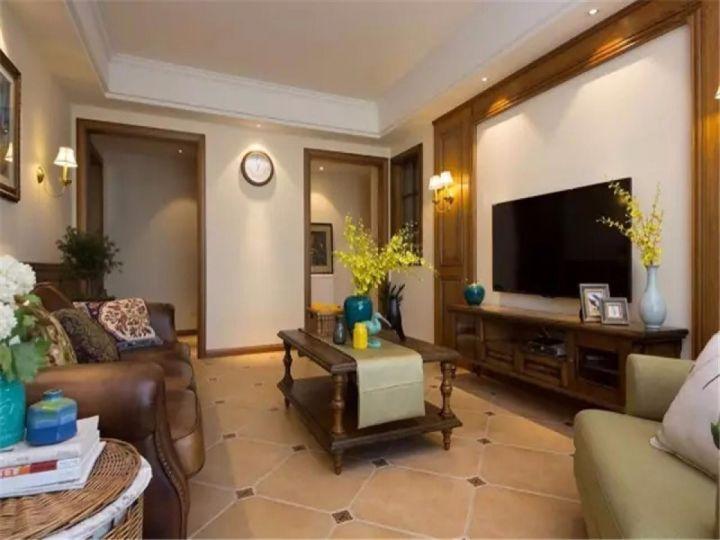 客厅咖啡色茶几新古典风格装修设计图片
