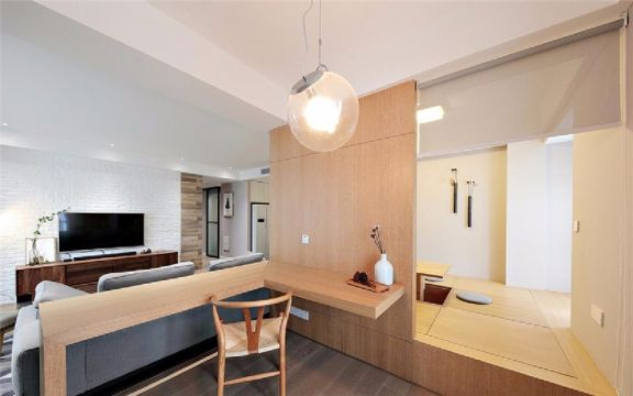 客厅咖啡色书桌现代简约风格装潢图片