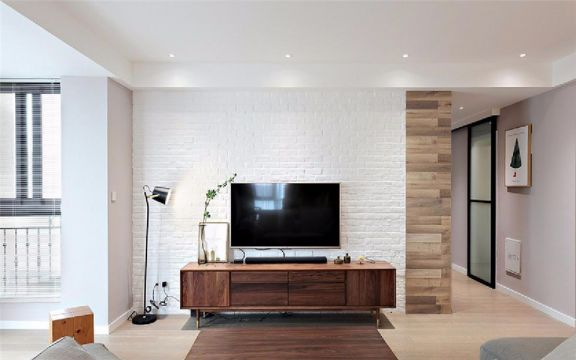 客厅咖啡色电视柜现代简约风格装修设计图片