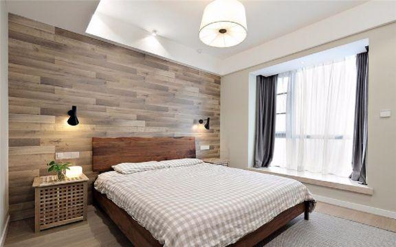 卧室灰色窗帘现代简约风格装饰设计图片