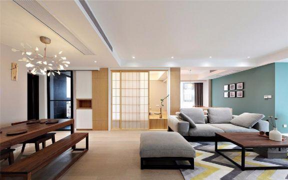 客厅白色推拉门现代简约风格装潢设计图片
