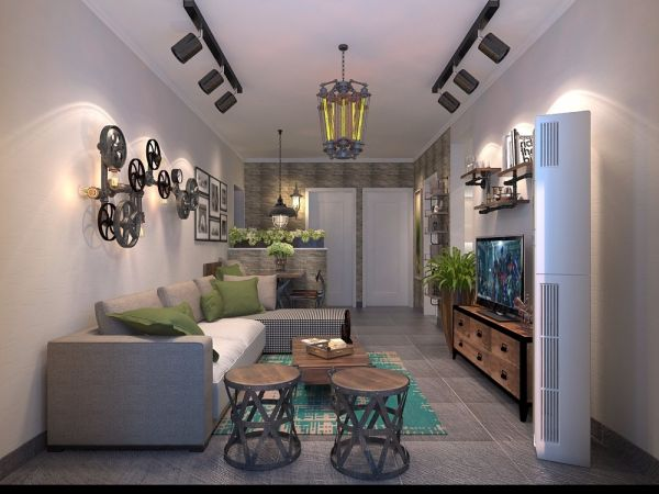 客厅白色细节美式风格效果图