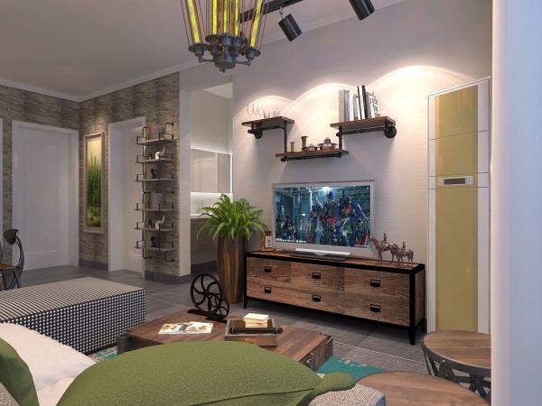 客厅灰色背景墙美式风格装修效果图