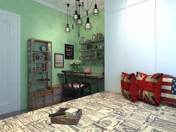 卧室绿色背景墙美式风格装饰效果图