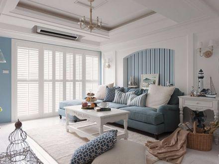 客厅蓝色沙发地中海风格装修图片