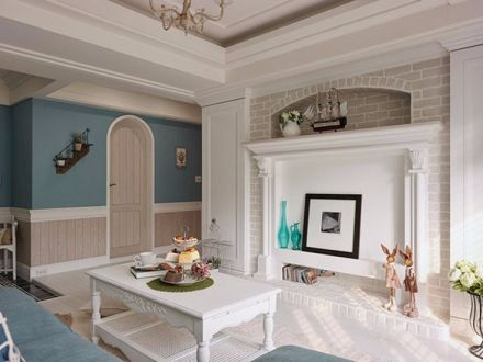 客厅白色电视柜地中海风格装饰图片