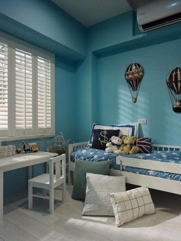 卧室蓝色床地中海风格装潢设计图片