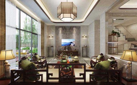 客厅电视柜新中式风格装修效果图