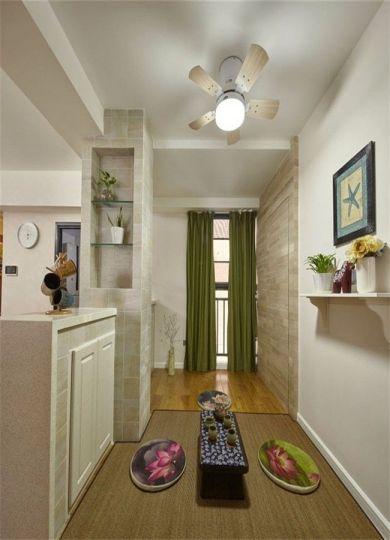客厅绿色窗帘现代风格装潢效果图