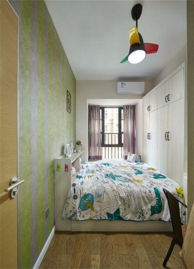 卧室绿色背景墙现代风格装修图片