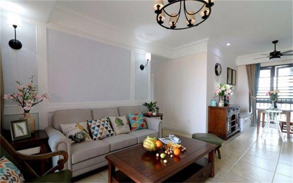 美式风格107平米四室两厅新房装修效果图