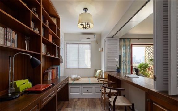 书房飘窗北欧风格装潢图片