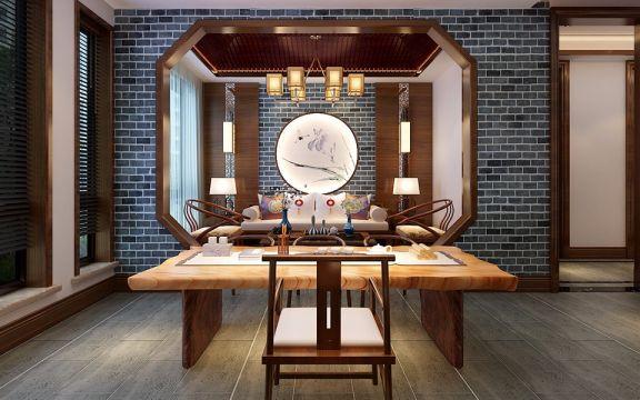 书房地板砖新中式风格装修设计图片