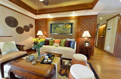 客厅茶几东南亚风格装潢效果图